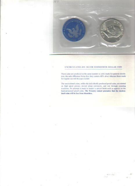 1974-S US MINT EISENHOWER UNC 40% SILVER DOLLAR - - BLUE IKE