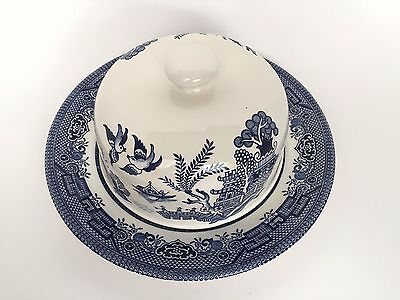 Vintage Blue Willow Covered Round Butter Dish English Pottery
