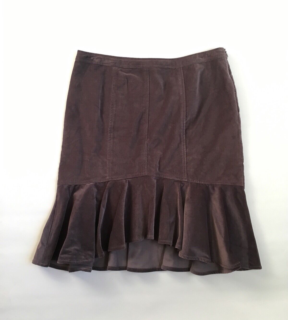 Garnet hill womens skirt size 10 brown velour asymmetrical hem pencil ruffle zip