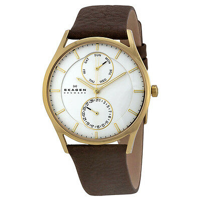 Skagen Holst Multi-Function White Dial Brown Leather Mens Watch SKW6066