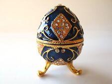 Cobalt Blue Square Design Crystal Egg Shaped Trinket Box Faberge Inspired