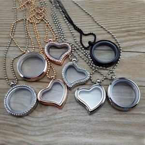 Living-Memory-Floating-Charm-Glass-Round-Heart-Locket-Pendant-Necklace-Chain