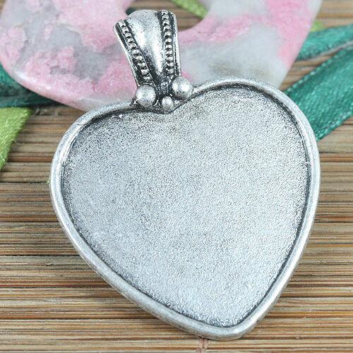 1pcs tibetan silver color heart shaped cabochon settings frame EF0322