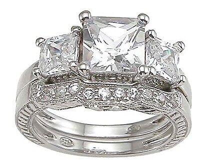 4 CT .925 STERLING SILVER PRINCESS 3 STONE CZ WEDDING ENGAGEMENT RING SET