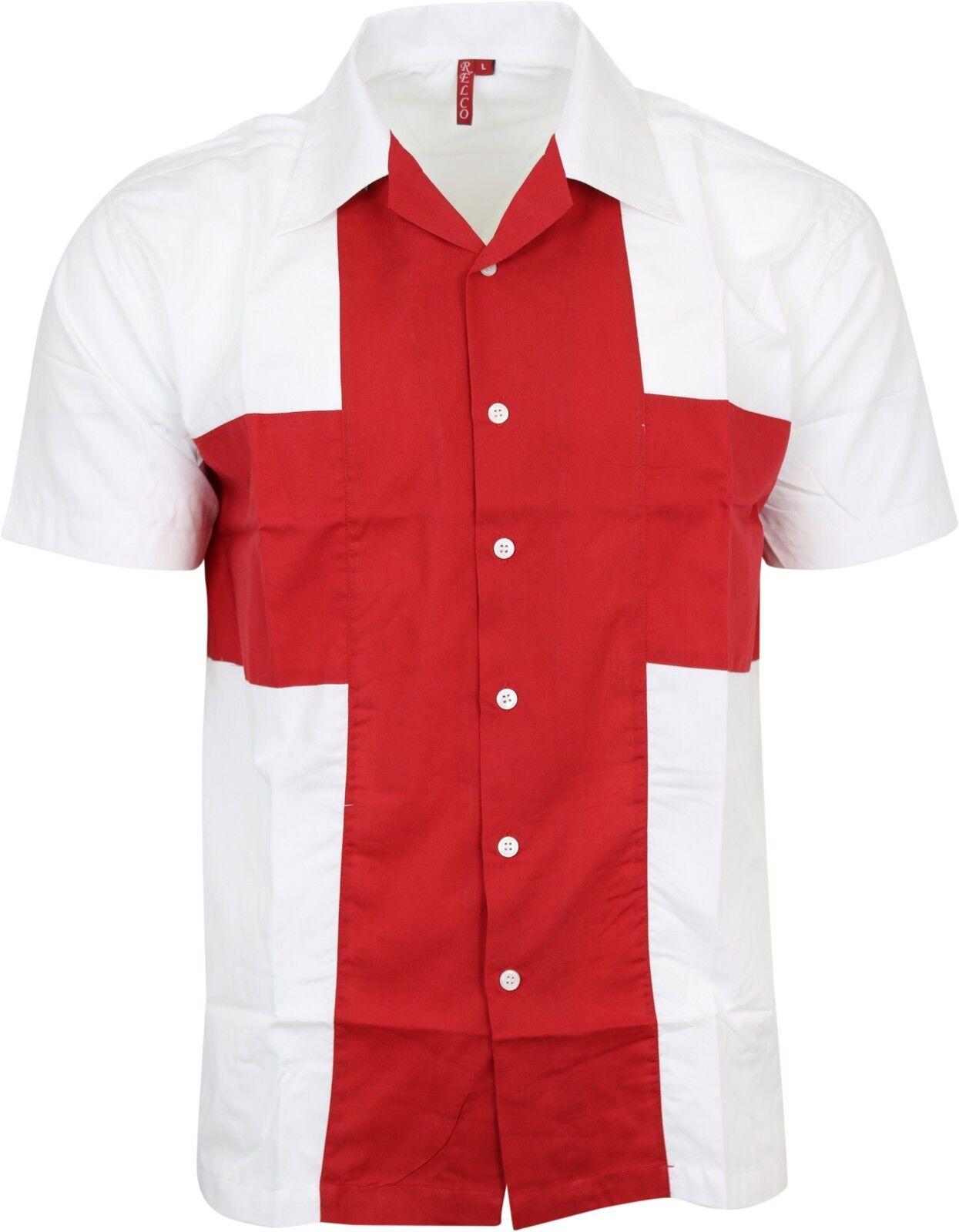Relco Para Hombre Negro Blanco De Rayas Camisa De Manga