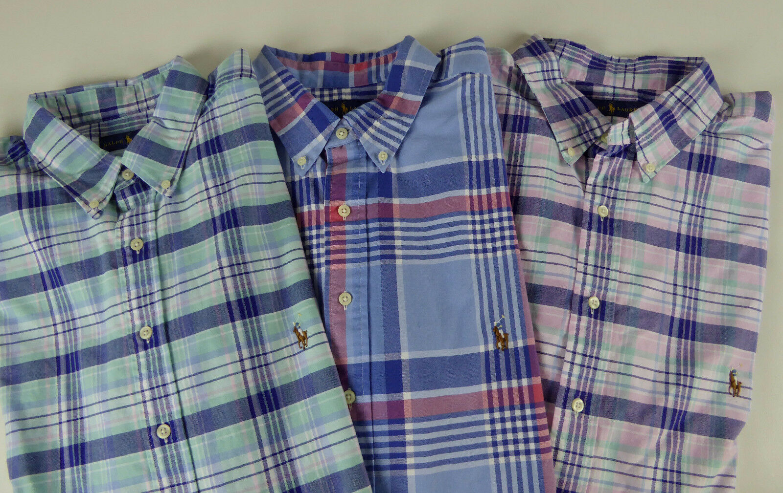 Polo Ralph Lauren LS 100% Cotton Plaid Oxford Shirt  NWT Pink bluee Green