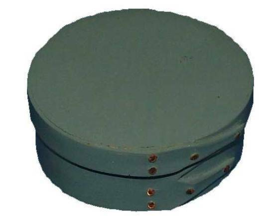 Size Shaker Round Box in Soldier bluee Milk Paint, Lacquer Finish