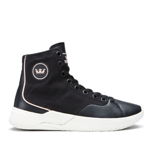 SUPRA STATIK Negro-Bone SZ.12 Cuero High Top Hombre Cuero Tenis Zapatos