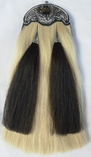 NEW HORSE HAIR MILITARY LONG SPORRAN 100/% Original with THISTLE CANTLE