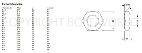 8mm A4 MARINE GRADE STAINLESS STEEL HEX THIN HALF LOCK NUTS DIN 439 NUT BW M8