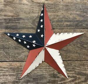 Tin-Metal-Rustic-Americana-12-034-Stars-amp-Stripes-American-Country-Barn-Star