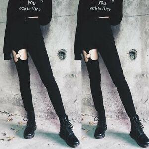 Women-Punk-Gothic-High-Waist-Leggings-Solid-Elastic-Pencil-Pants-Trousers-BK-Hot