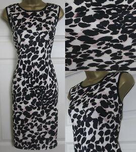 63cec351a571 NEW Wallis Animal Print Scuba Shift Bodycon Dress Black Blush Pink ...