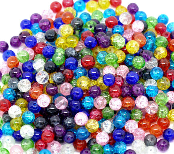 200  ASSORTED CRACKLE GLASS BEADS 6mm ~ bracelet~wine charm~necklace~cards (E)UK