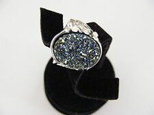 Sterling Silver Shamrock Drusy Quartz Ring Green, Gold, or Blue Size 7, 8, 11