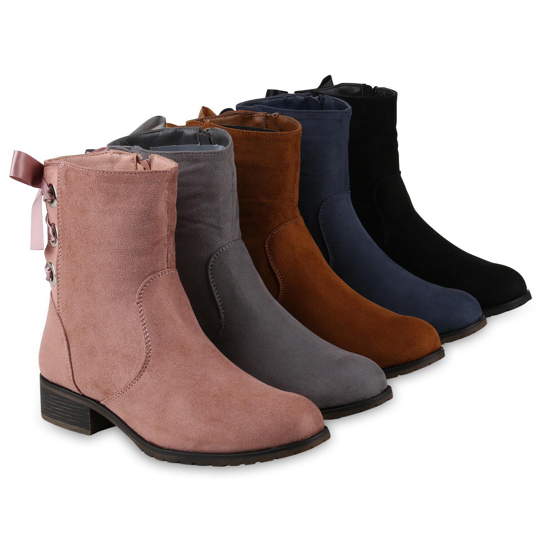 Klassische Stiefeletten Damen Stiefel Leicht Gefüttert Satinoptik 818736 Schuhe