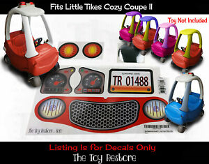 Toy Restore Replacement Stickers for Little Tikes Cozy Coupe II Ride-On Car