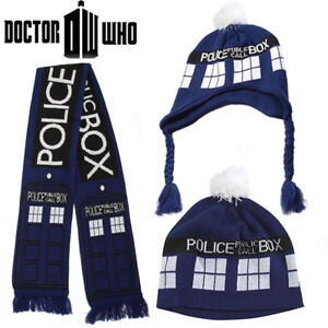 dd5a6dfc967 LICENSED Doctor Who TARDIS Police Box Blue Knitted Scarf and Pom ...