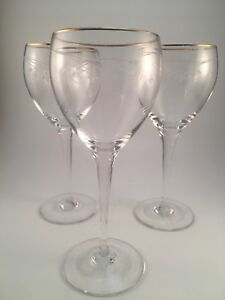 Lot-of-3-Gorham-Crystal-Wine-Glass-7-1-8-in-tall-Gold-Trim-Etched-Design