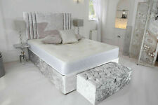 """NEW CRUSHED VELVET DIVAN BED WITH MATCHING MATTRESS AND FREE 20"""" PLAIN HEADBOARD"""