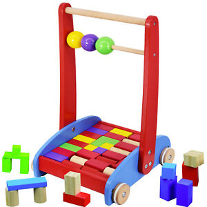 Baby Walker Activity Wooden Block Cart & Abacus Learning Toddler Colourful Toy 706502831721