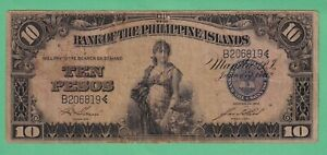 Philippines-1912-Bank-of-the-Philippine-Islands-P10-00-Garcia-Hord-F-VF