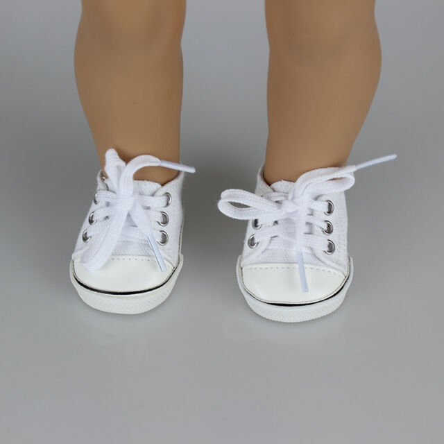 Handmade Canvas White Shoes for 18inch Doll Cute Baby Kids Toys .