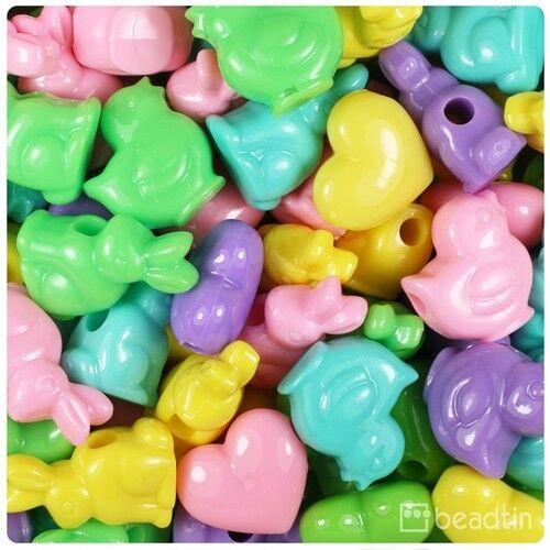 10 Printemps Funshine Pony Beads POUSSINS LAPINS COEURS 18 mm