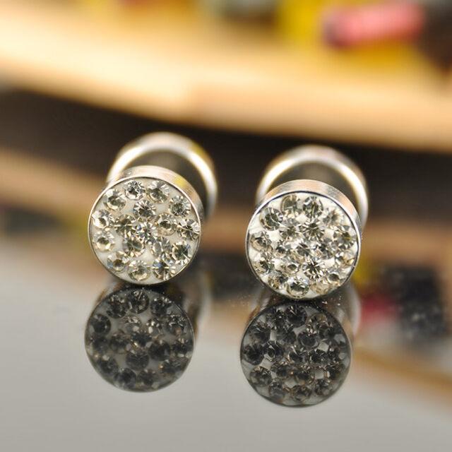 Wholesale Stainless Steel Rhinestone Crystal Women's Men's Earrings Ear Studs