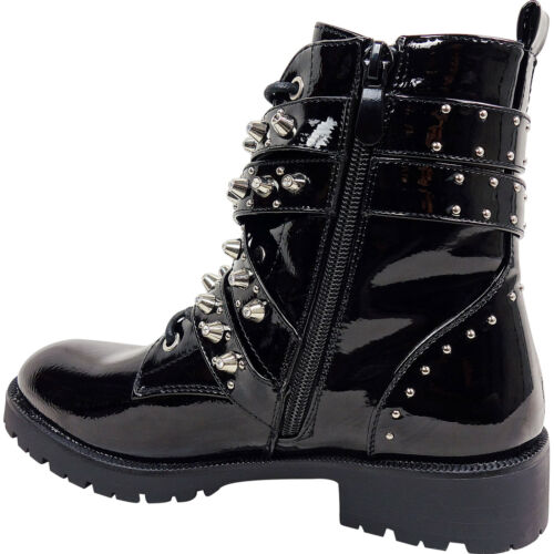 Womens Ladies Low Heel Block Buckles Strappy Studded Lace Up Biker Ankle Boots