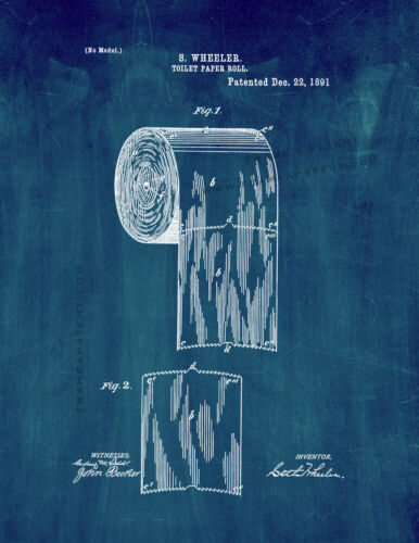Toilet Paper Roll Patent Print Midnight Blue