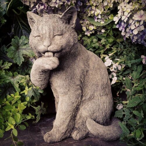 Preening Cat Garden Ornament made from Reconstituted Stone