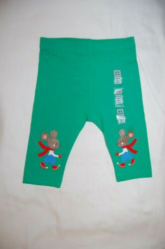 "95/% M/&S Green /""Mouse/"" Leggings Cotton Rich Age 0-3 Months BNWT"