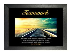 Detalles De Póster Motivacional El Trabajo En Equipo 1004 Dedicación Cita Tren Fit Foto Trabajar Duro Gimnasio Ver Título Original