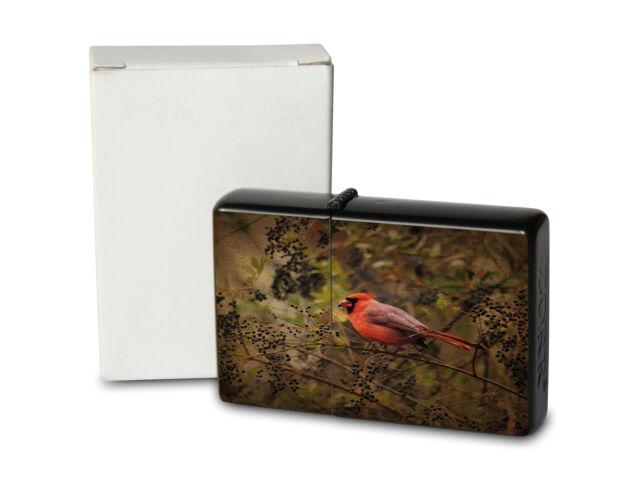 Pocket Windproof Lighter Brushed Oil Refillable Cardinal bird