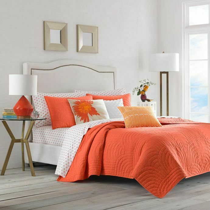3-Pc Trina Turk Palm Desert Full-Queen Quilt Set Dark orange Scallop 100% Cotton