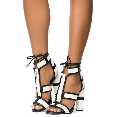 Cape Robbin Maura-2 Ankle Strap Tie Up Open Toe T-Strap Block Heel White Sandals