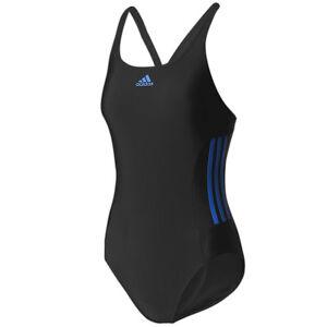 Details zu adidas Damen 3 Streifen Infinitex Badeanzug Essence Core Suit Einteiler schwarz