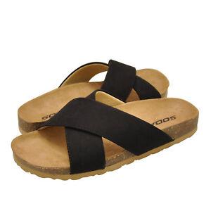 1109a1440458 Women s Shoes Soda MIDGE-S Faux Suede Criss Cross Slip On Sandals ...