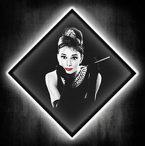 audrey hepburn led bild leuchtbild leinwandbild xxl wandbild wand beleuchtung ebay. Black Bedroom Furniture Sets. Home Design Ideas