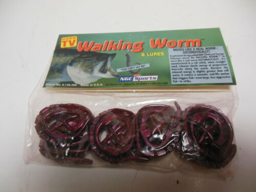 Walking Worm Fishing Lures 8 Pack as seen on TV Red Shad Green Flake