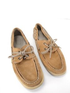 Sperry-Top-Sider-Intrepid-Tan-Boat-Shoes-Womens-Sz-9-5-Classic-Leather-Slip-On-B