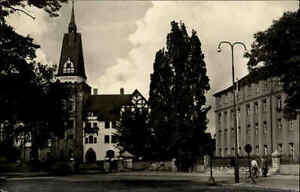 Bernburg Saale alte DDR Ansichtskarte 1959 Partie an der FDGB Kuranstalt Turm
