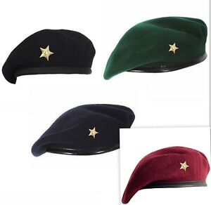 ac4b3c5f050 Image is loading Beret-cap-Mix-Wool-Military-Gold-Star-Special-