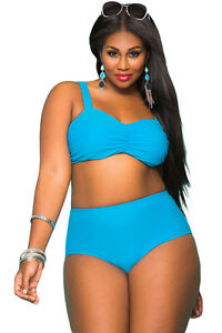 Costume Da Bagno Bikini Vita alta Taglie forti Grandi Curvy Plus Ov ...