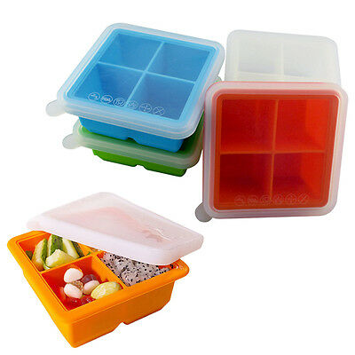 Large Food grade Silicone Ice Cube Tray with Lid 4 Cube Set  4 Color Choose