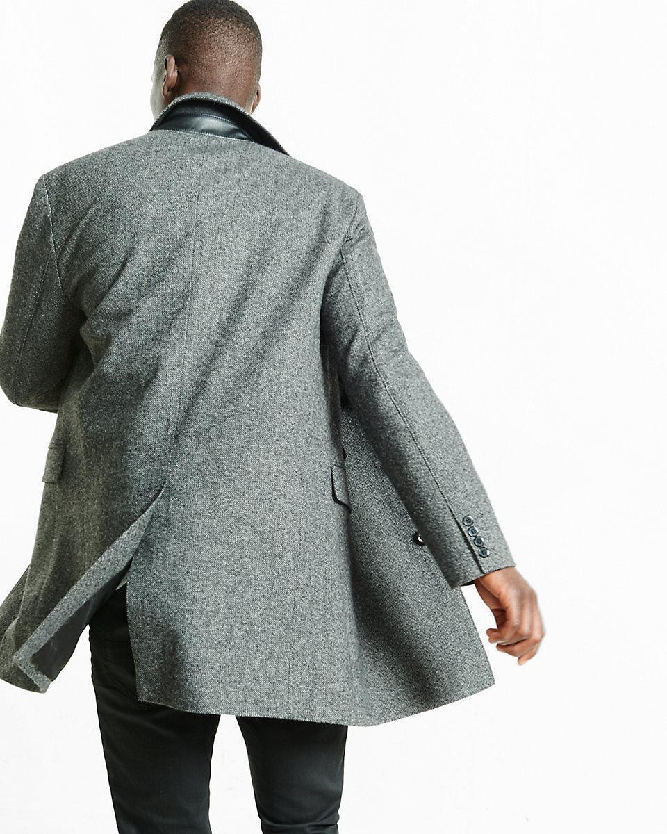 New express men's wool blend tweed topcoat L large 04423730 NWT