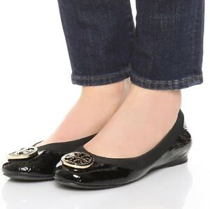 def673634be Image is loading Tory-Burch-039-CAROLINE-039-Ballerina-Flat-Black-