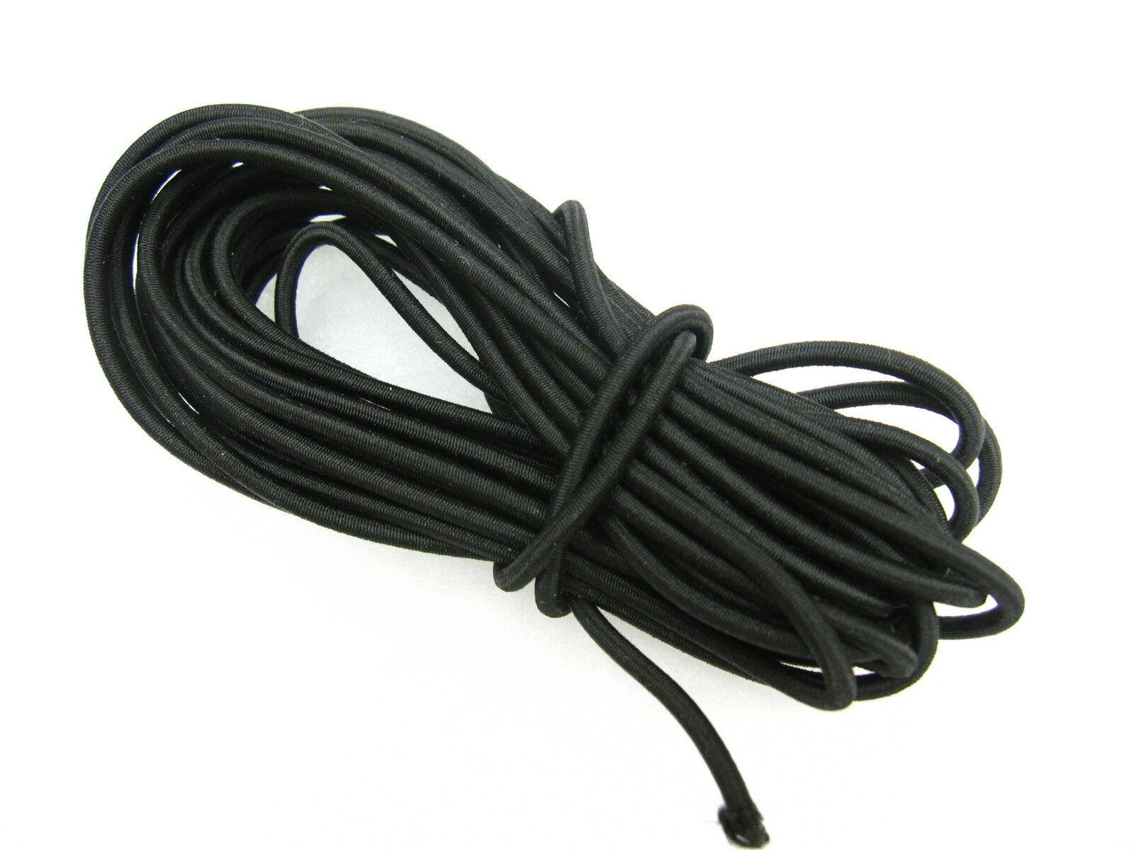 5 mts black elasticated 3mm diameter bungee shock cord - Elastic shockcord rope