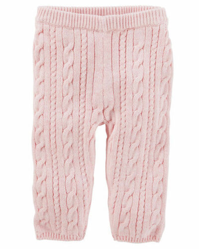 OSHKOSH Infant Girls Cable-Knit Pants Pink NWT elastic waist leggings